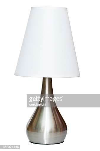 Metallic table lamp with white shade and clipping path