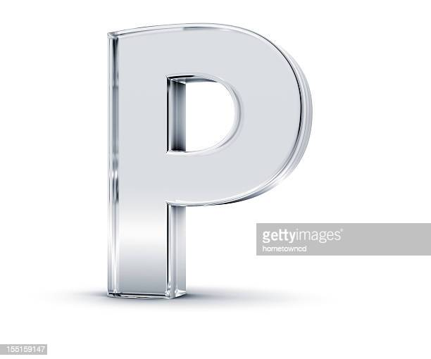 Metallic three dimensional letter P