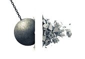 Metallic Wrecking Ball Shattering Wall. 3D Illustration.