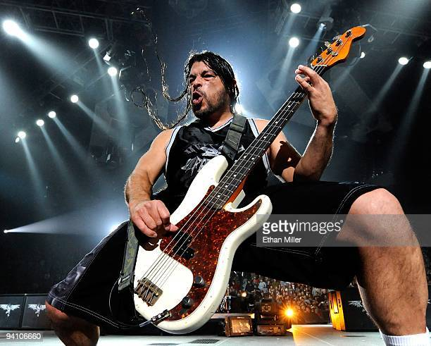 Metallica bassist Robert Trujillo performs during a soldout concert at the Mandalay Bay Events Center December 5 2009 in Las Vegas Nevada The band is...