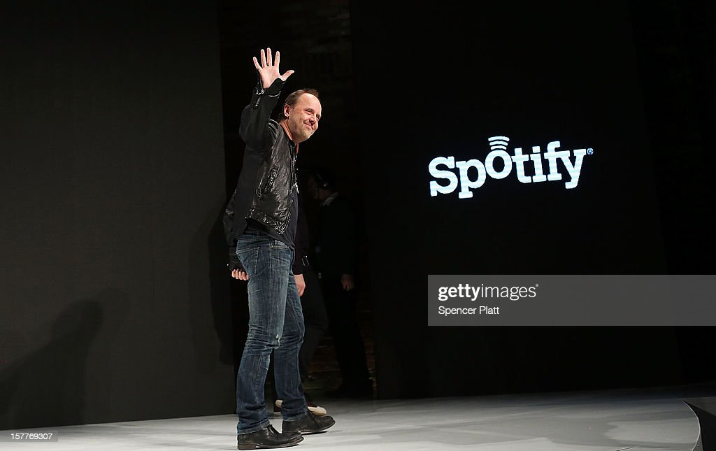 Metallica drummer <a gi-track='captionPersonalityLinkClicked' href=/galleries/search?phrase=Lars+Ulrich&family=editorial&specificpeople=209281 ng-click='$event.stopPropagation()'>Lars Ulrich</a> leaves the stage at a Spotify event on December 6, 2012 in New York City. Metallica recently announced that their music will now be available on the music streaming site. Spotify's founder and CEO Daniel Elk, who started the Swedish music streaming business in 2006, introduced a variety of new additions to the popular music sight. Elk also announced that Spotify now has 5 million paid subscribers, 20 million active users and has paid out a half billion dollars to artist's record labels.