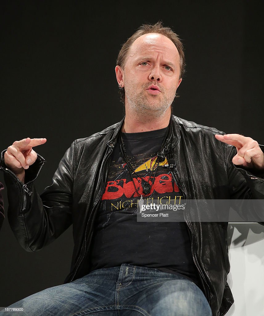 Metallica drummer Lars Ulrich speaks at a Spotify event on December 6, 2012 in New York City. Metallica recently announced that their music will now be available on the music streaming site. Spotify's founder and CEO Daniel Elk, who started the Swedish music streaming business in 2006, introduced a variety of new additions to the popular music sight. Elk also announced that Spotify now has 5 million paid subscribers, 20 million active users and has paid out a half billion dollars to artist's record labels.