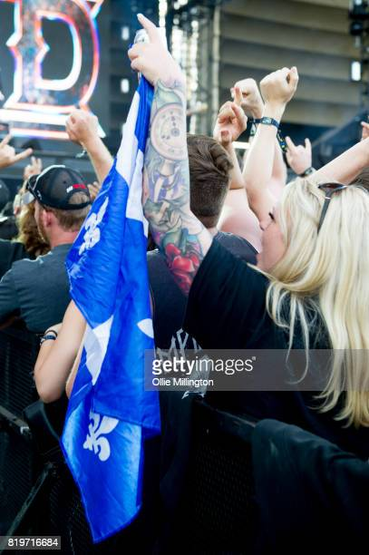 Metallica fan a Quebec flag in the crowd on day 9 of the 50th Festival D'ete De Quebec headlined by Metallica on the Main Stage at the Plaines D'...