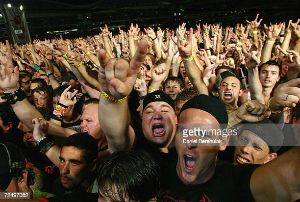 Metallica fans during the Big Day Out Music Festival at the Sydney Olympic Park January 24 2003 in Sydney Australia