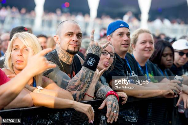 Metallica fans in the cowds on day 9 of the 50th Festival D'ete De Quebec headlined by Metallica on the Main Stage at the Plaines D' Abraham on July...