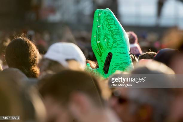 Metallica fans in the crowd with an inflatable Crocodile on day 9 of the 50th Festival D'ete De Quebec headlined by Metallica on the Main Stage at...