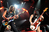 Metallica guitarist Kirk Hammett and bassist Robert Trujillo perform during a soldout concert at the Mandalay Bay Events Center December 5 2009 in...