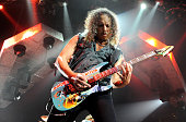 Metallica guitarist Kirk Hammett performs during a soldout concert at the Mandalay Bay Events Center December 5 2009 in Las Vegas Nevada The band is...