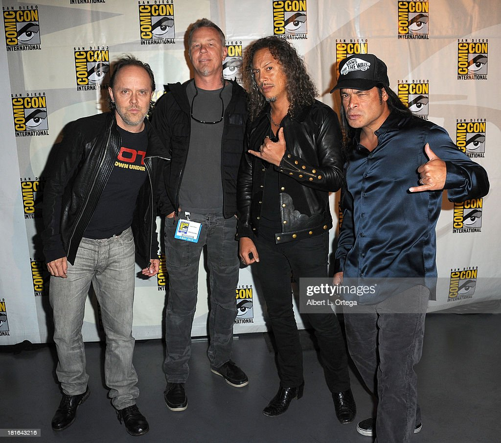 Metallica (LtoR) <a gi-track='captionPersonalityLinkClicked' href=/galleries/search?phrase=Lars+Ulrich&family=editorial&specificpeople=209281 ng-click='$event.stopPropagation()'>Lars Ulrich</a>, <a gi-track='captionPersonalityLinkClicked' href=/galleries/search?phrase=James+Hetfield&family=editorial&specificpeople=178297 ng-click='$event.stopPropagation()'>James Hetfield</a>, <a gi-track='captionPersonalityLinkClicked' href=/galleries/search?phrase=Kirk+Hammett&family=editorial&specificpeople=204665 ng-click='$event.stopPropagation()'>Kirk Hammett</a> and <a gi-track='captionPersonalityLinkClicked' href=/galleries/search?phrase=Robert+Trujillo&family=editorial&specificpeople=213071 ng-click='$event.stopPropagation()'>Robert Trujillo</a> attend At The Drive-In With Metallica's 'Through The Never' as part of Comic-Con International 2013 held at San Diego Convention Center on Friday July 19, 2012 in San Diego, California.