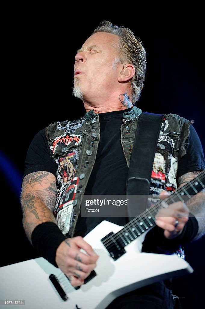 Metallica lead singer James Hetfield during the group's concert at FNB Stadium on April 27, 2013 in Soweto, South Africa.