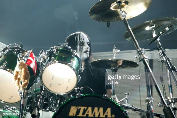 Metallica perform with substitute drummer Joey Jordisson on stage at day two of the 'Download Festival' at Donington Park on June 6 2004 in...