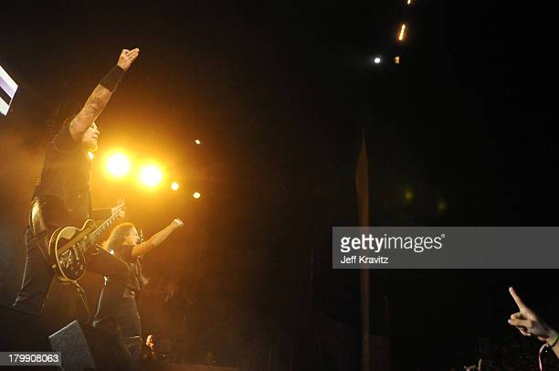 Metallica performs at the 2008 KROQ Weenie Roast at the Verizon Wireless Amphitheater on May 17 2008 in Irvine California