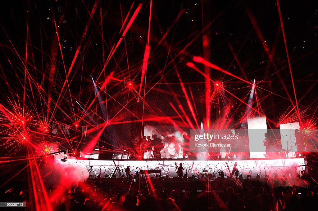 Metallica performs onstage during the 56th GRAMMY Awards at Staples Center on January 26, 2014 in Los Angeles, California.
