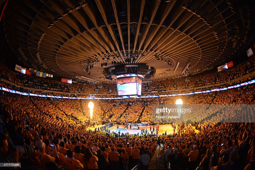 Metallica performs the National Anthem prior to Game Five of the 2015 NBA Finals between the Cleveland Cavaliers and Golden State Warriors on June 14...