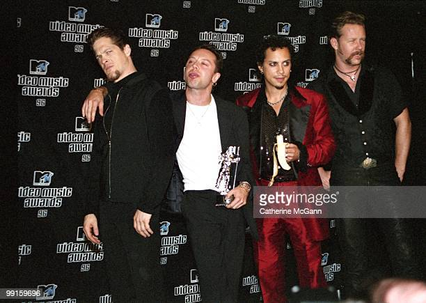 Metallica pose for a group photo at the 13th Annual MTV Video Music Awards on September 4 1996 at Radio City Music Hall in New York City New York