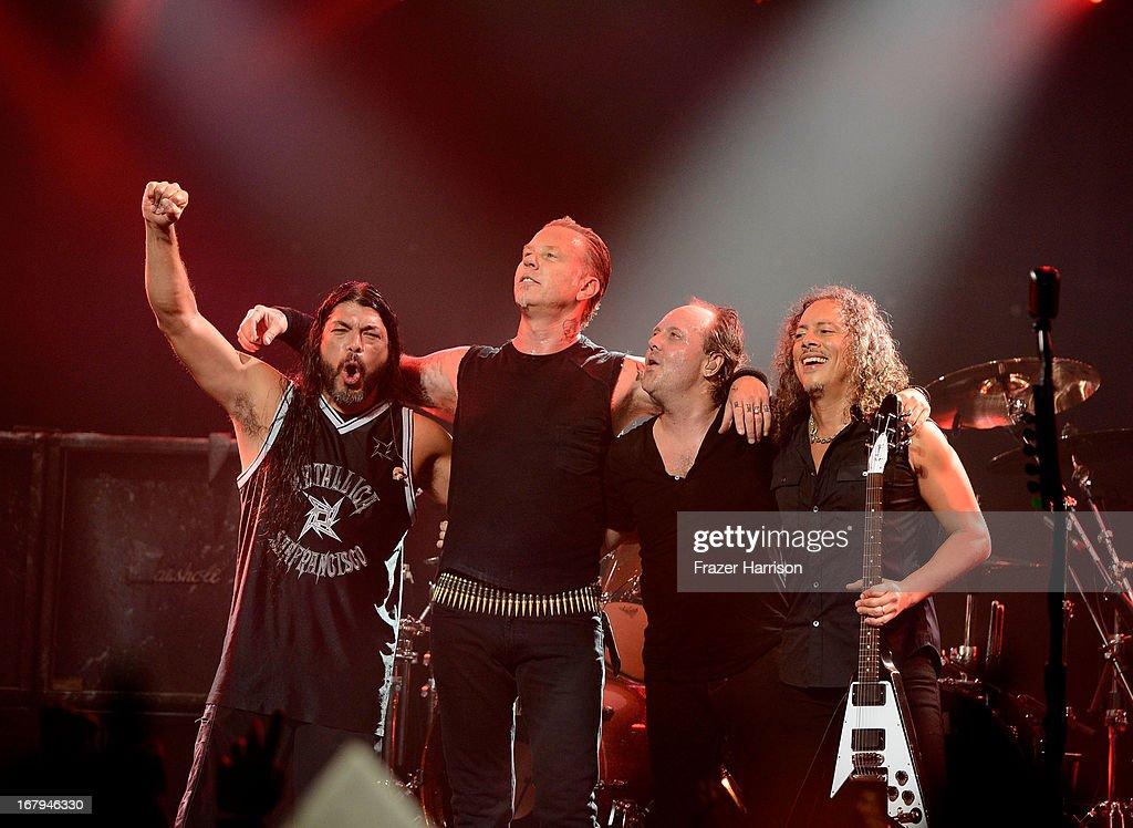 Metallica (L-R) Robert Trujillo, James Hetfield, Lars Ulrich, Kirk Hammett perform at the 5th Annual Revolver Golden Gods Award Show at Club Nokia on May 2, 2013 in Los Angeles, California.