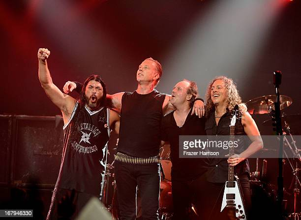 Metallica Robert Trujillo James Hetfield Lars Ulrich Kirk Hammett perform at the 5th Annual Revolver Golden Gods Award Show at Club Nokia on May 2...