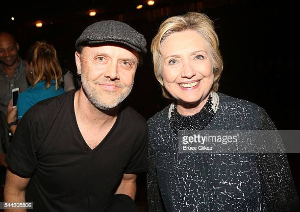 Metallica's Lars Ulrich and Hillary Clinton pose backstage at the hit musical 'Hamilton' on Broadway at The Richard Rogers Theatre on July 2 2016 in...