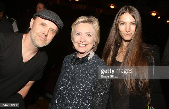 Metallica's Lars Ulrich Hillary Clinton and Jessica Miller pose backstage at the hit musical 'Hamilton' on Broadway at The Richard Rogers Theatre on...