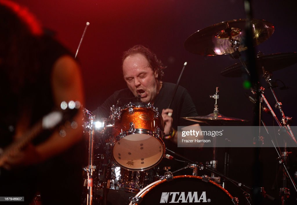 Metallica's <a gi-track='captionPersonalityLinkClicked' href=/galleries/search?phrase=Lars+Ulrich&family=editorial&specificpeople=209281 ng-click='$event.stopPropagation()'>Lars Ulrich</a>, performs at the 5th Annual Revolver Golden Gods Award Show at Club Nokia on May 2, 2013 in Los Angeles, California.