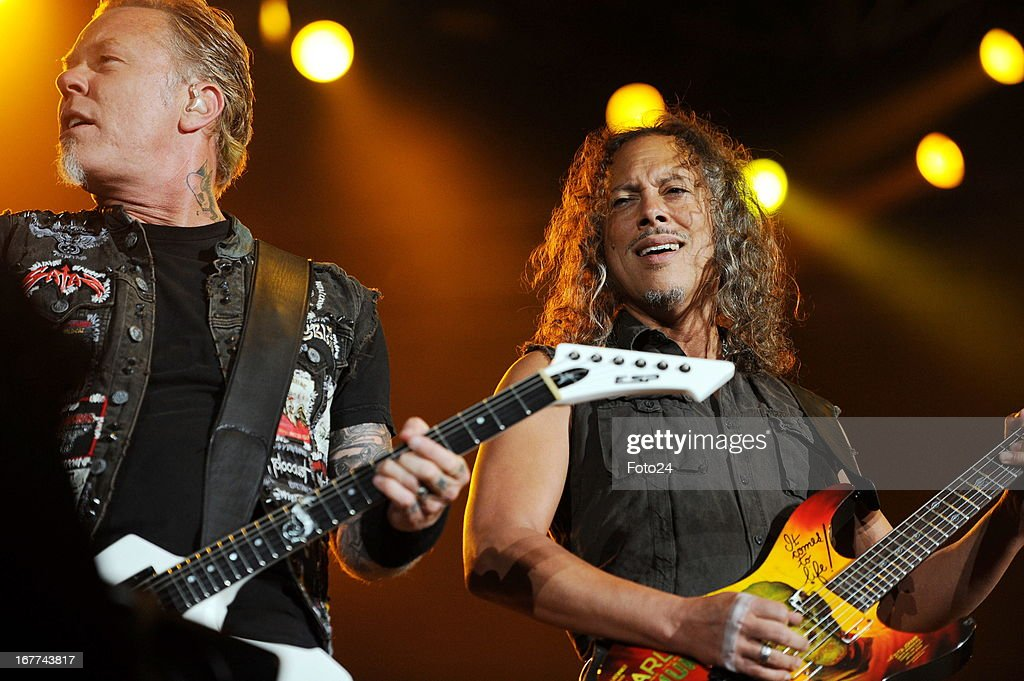 Metallica's lead singer James Hetfield and guitaritst Kirk Hammet during the group's concert at FNB Stadium on April 27, 2013 in Soweto, South Africa.