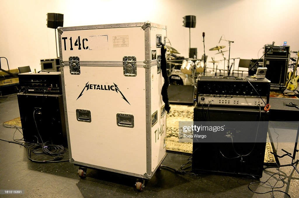 Metallica's tuning room backstage at The Apollo Theater during Metallica's private, exclusive concert for SiriusXM listeners on September 21, 2013 in New York City.