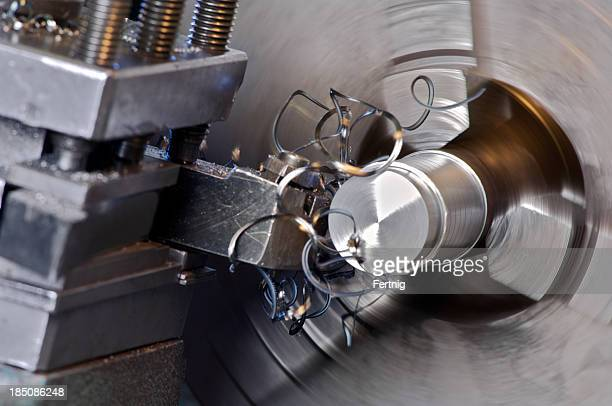 Metalworking lathe in operation