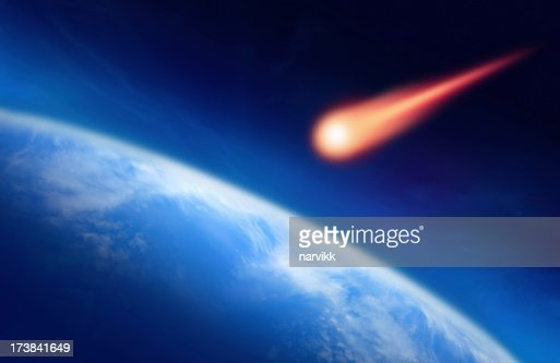 Meteor auf die Erde fallen