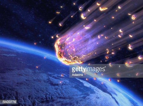 Meteor shower speeding toward Earth (digital composite)