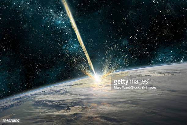 A meteor strikes Earth. Clouds cover an ocean area of the planet. Planetary material is ejected back into space.