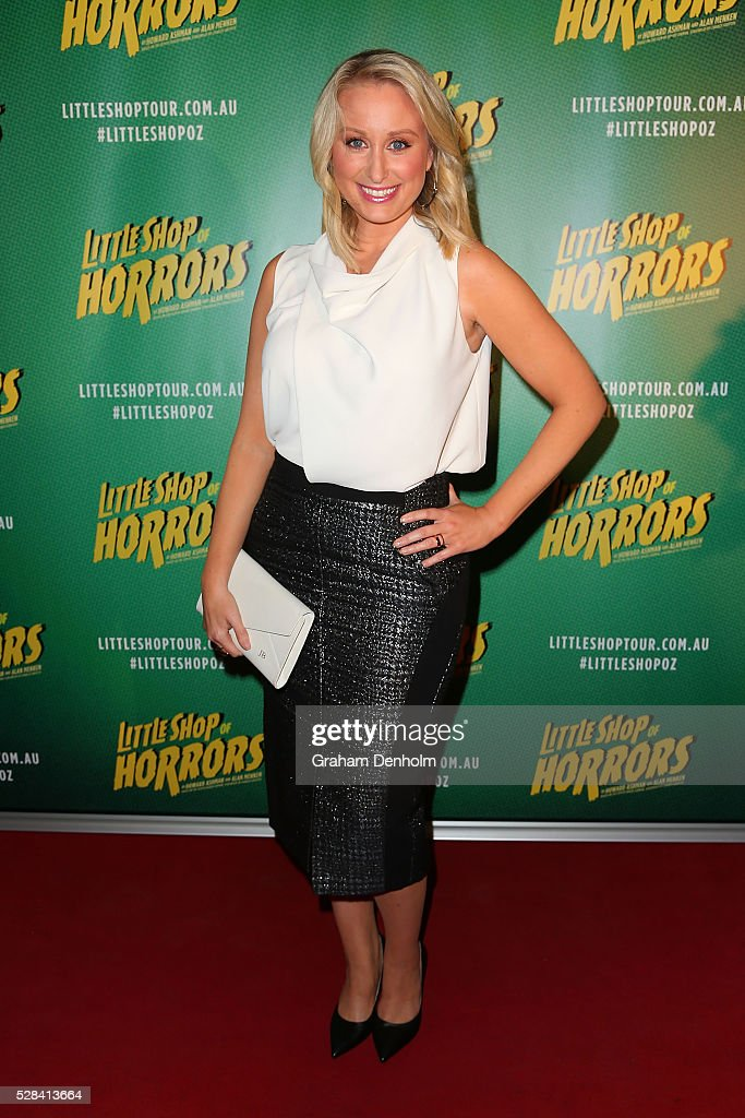 Meteorologist and weather presenter Jane Bunn arrives ahead of the opening night for the Little Shop of Horrors at the Comedy Theatre on May 5, 2016 in Melbourne, Australia.