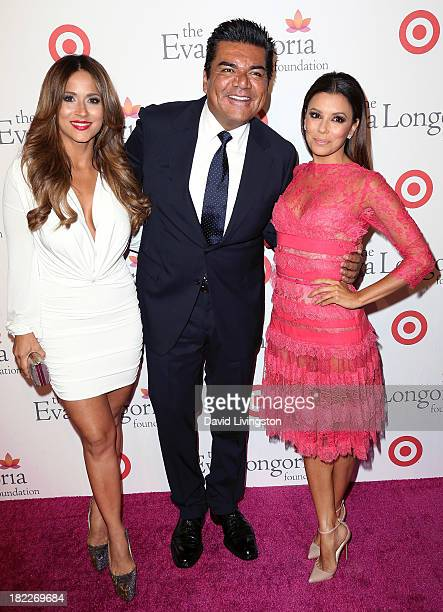 TV meteorologist Jackie Guerrido and actors George Lopez and Eva Longoria attend the Eva Longoria Foundation Dinner at Beso on September 28 2013 in...