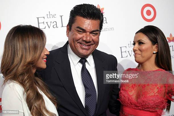 Meteorologist Jackie Guerrido comedian George Lopez and actress Eva Longoria attend the Eva Longoria Foundation dinner held at Beso on September 28...