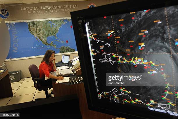 Meteorologist Jessica Schauer works on tracking Hurricane Earl at the National Hurricane Center on August 30 2010 in Miami Florida Jessica said that...