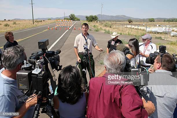 Meteorologist Jim Wallman speaks in news conference at the Highway 89 South blockcade on July 2 2013 near Kirkland Arizona Nineteen Granite Mountain...