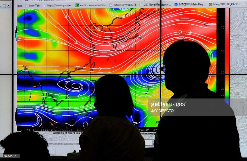 Meteorologists from the Philippine Atmospheric Geophysical and Astronomical Services Administration monitor and plot the direction of super typhoon...