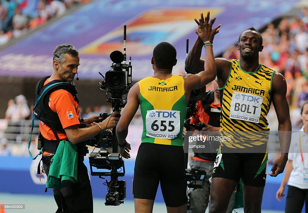 200 Meter Finale final world Champion Usain Bolt JAM mit Waren Weir JAM Leichtathletik WM Weltmeisterschaft Moskau 2013 IAAF World Championships...