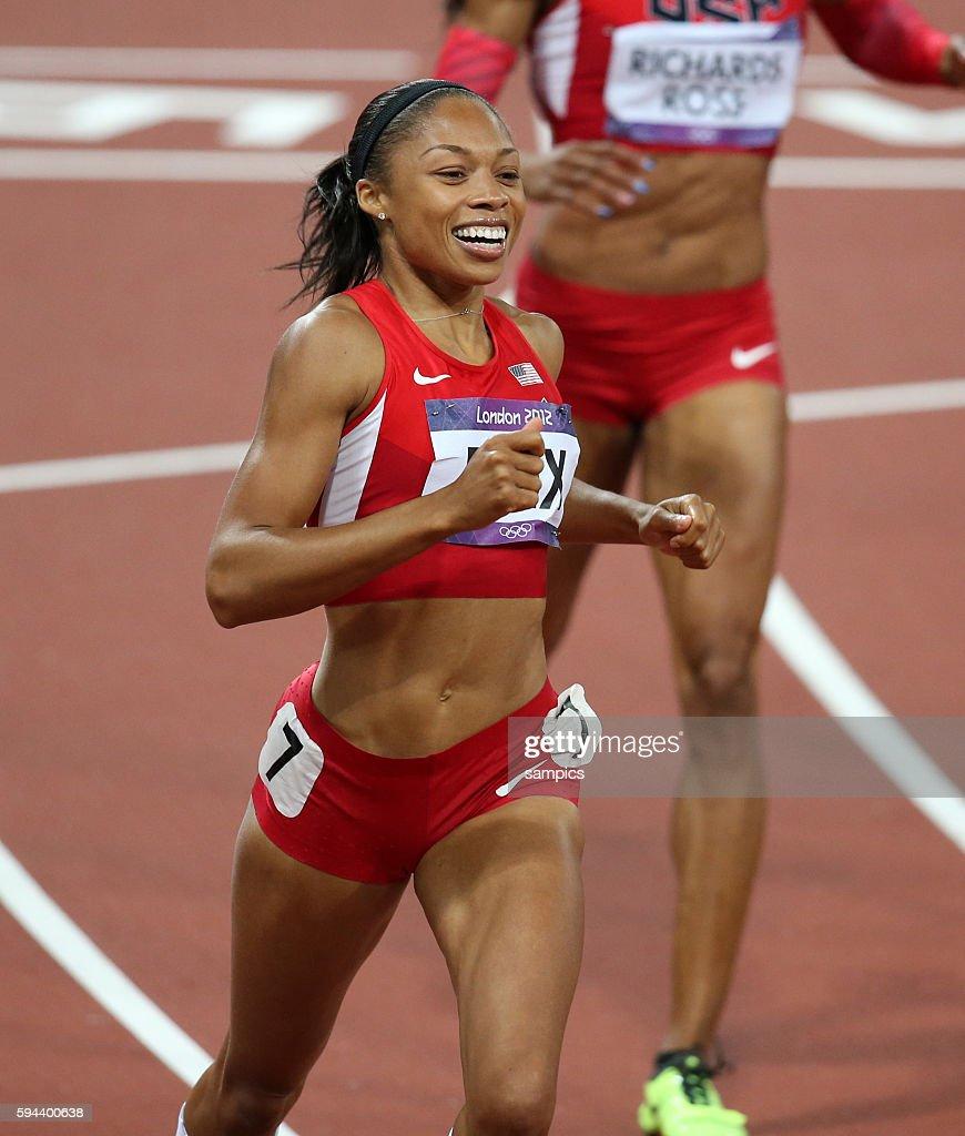 200 Meter Fonale Olympiasieger olympic Champion Goldmedalist Gold Allyson Felix USA Leichtathletik athletics Olympische Sommerspiele in London 2012...