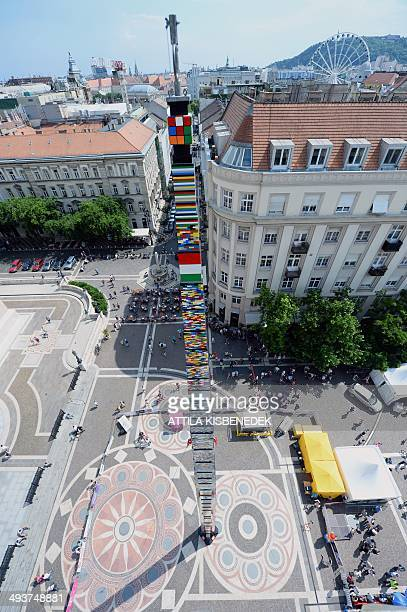 A 3476 meter high tower of Lego plastic bricks is seen in front of the St Stephen's Basilica in Budapest on May 25 2014 The tower was constructed by...