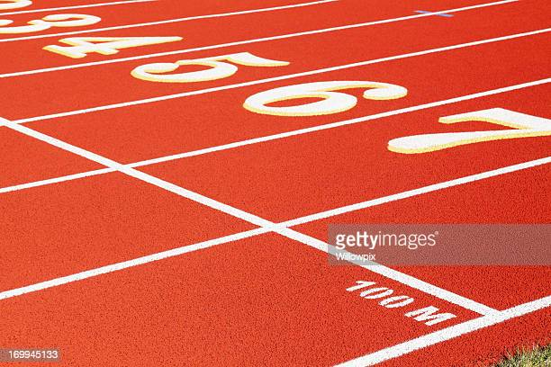 100 Meter Start Line on Red Running Track