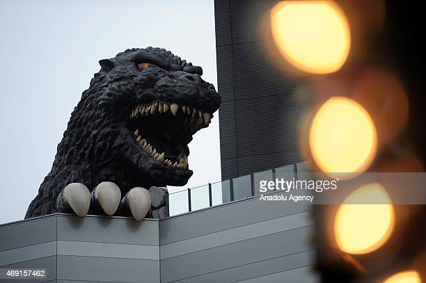 A 12 meters tall Godzilla replica based on the original 1954 film is seen on the top of the ninefloor Toho Cinema Shinjuku Building in Kabukicho...