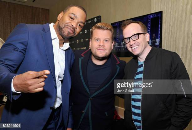 Method Man James Corden and Chris Gethard at the TCA Turner Summer Press Tour 2017 Green Room at The Beverly Hilton Hotel on July 27 2017 in Beverly...