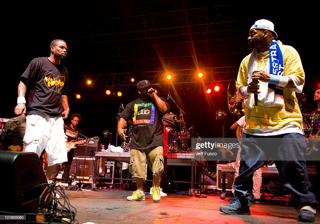 Method Man, Raekwon and Ghostface Killah of The Wu Tang Clan perform at the 3rd Annual Roots Picnic at the Festival Pier on June 5, 2010 in Philadelphia, Pennsylvania.