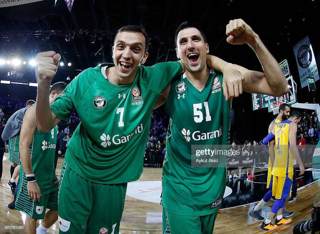 Metin Turen, #7 of Darussafaka Dogus Istanbul and <a gi-track='captionPersonalityLinkClicked' href=/galleries/search?phrase=Milko+Bjelica&family=editorial&specificpeople=5617486 ng-click='$event.stopPropagation()'>Milko Bjelica</a>, #51 of Darussafaka Dogus Istanbul celebrate victory during the Turkish Airlines Euroleague Basketball Regular Season Round 10 game between Darussafaka Dogus Istanbul v Maccabi Fox Tel Aviv at Vokswagen Arena on December 17, 2015 in Istanbul, Turkey.