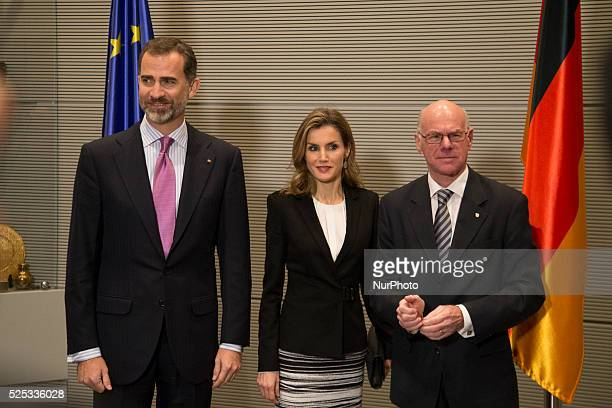 Meting between King Philip VI and Queen Letizia of Spain and the President of the German Bundestag Prof Dr Norbert Lammert at the Bundestag in Berlin...