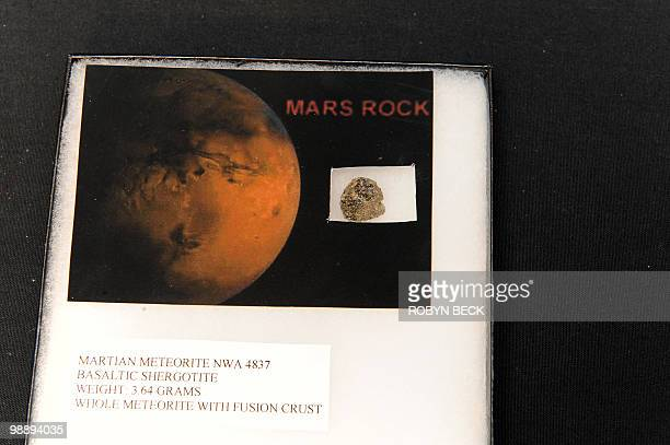 A metorite from Mars is on display before sale at auction May 6 2010 in Los Angeles Bonhams Butterfields upcoming National History Auction on May 27...