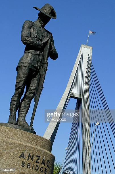 A 42 metre high bronze statue of a soldier from the Australian and New Zealand Army Corps known as a 'Digger' stands guard at the entrance to the...
