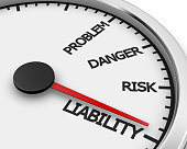 Problem, Danger, Risk  and Liability words on a speedometer 3d rendering