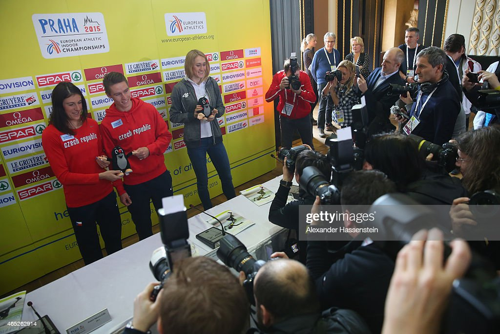 800 metres athlete Zusana Hejnova of Czech Republic, 400 metres athlete Pavel Maslak of Czech Republic and 800 metres athlete Kamila Licwinko of Poland poses with the official mascot Krtek after a press conference ahead of the 2015 European Athletics Indoor Championships at The Old Town Hall on March 5, 2015 in Prague, Czech Republic.
