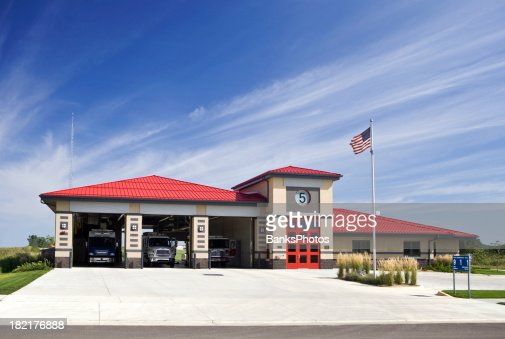 Metro Area Fire Station with Trucks